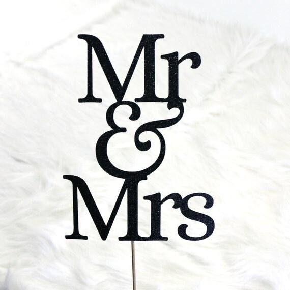 Mr & Mrs Wedding Cake Topper - Glitter - Wedding Cake Topper. Bridal Shower. Bachelorette Party. Engagement Party.