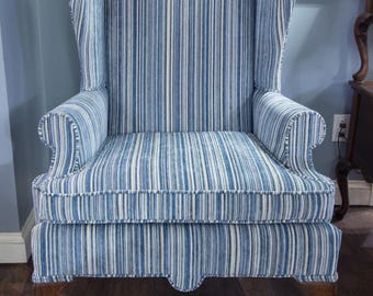 Blue And White Striped Wingback Chair | Reupholstered Vintage Furniture |  Milo Milo