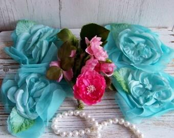 Vintage Millinery Flower Assortment, Millinery Flowers, Old Hat Flowers, Premium Hat Flowers, Vintage Hat Blooms, Blue Millinery