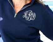 Clearance SALE Monogram Pullover Sweatshirt 1/4 Zip in 3 Colors
