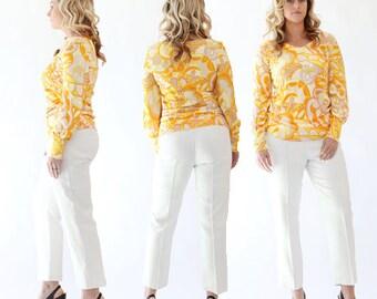 Vintage 50s white high waist capri dress slacks pants S M