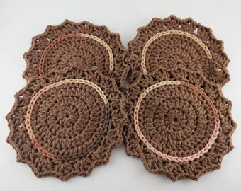 Crochet Cotton Coasters - Set of 4 - READY TO SHIP - Mother's Day gift