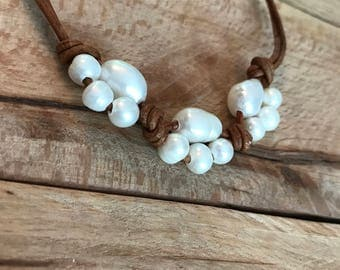 REVERED FOR TINA Beach Jewelry - Pearl Leather Anklet - Freshwater Pearls, Natural Brown Leather - Boho Beach Treasure