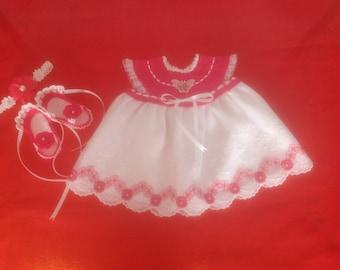 Handmade Crochet Newborn Baby Girl Dress Set - Fuchsia & White