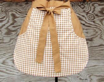Brown Half Apron, Vending apron, cooking apron, gardening apron