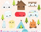 80% OFF - INSTANT DOWNLOAD, kawaii camping clipart and vectors for personal and commercial use
