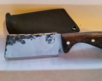 Hammer Forged Pocket Mini Cleaver with Custom Kydex Sheath - SHIPS FREE