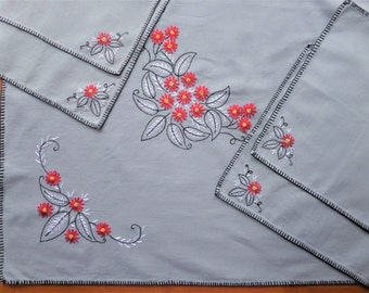 Vintage Tablecloth Embroidered Card Table and Napkins Gray Red Black Mid Century