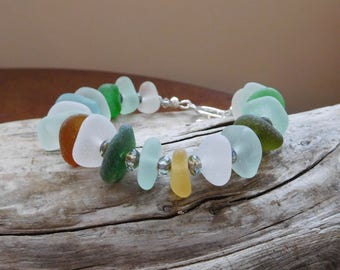 Genuine sea glass bracelet.  Beach Glass Jewelry. Ocean vibe. Hand gathered. Never altered.