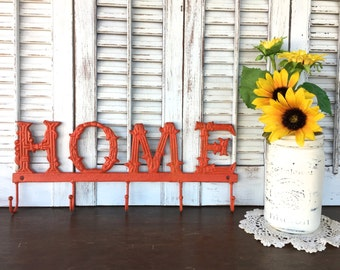 Textured Orange HOME Sign w/ 5 Hooks / Metal Wall Decor