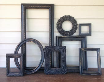 Distressed Black Empty Frame Collection - Open Wall Frame Gallery - Set of 8 Frames - Paris Apartment Farmhouse
