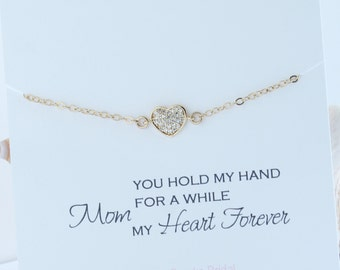 Mother of the Bride or Groom Bracelet, Pave Heart Bracelet, Gift for Mother of the Bride, mother of the bride jewelry, Mother's Day gift