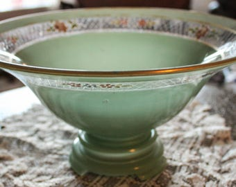 Antique Green Frosted 2 PC. Glass Compote