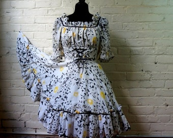 Big Flower Gauze Party Dress Vintage 1960s MEDIUM Black White Yellow Lacing Waist Full Circle Skirt Ruffle Peasant Half Sleeves Shelf Bust