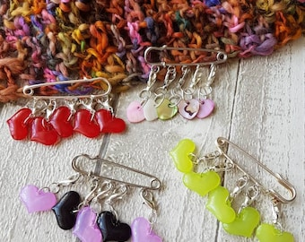 Stitch markers,  heart stitch markers, resin stitch markers, heart progress keepers, knitting stitch markers, crochet stitch markers,