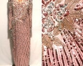 """Vintage 1980s Sho Max Original Sequined Dress // 80s Blush Beaded Evening Gown // 30"""" waist"""