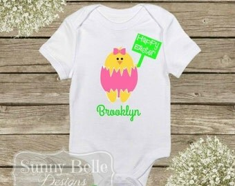 Personalized Easter Chick Onesie; Baby Clothes; First Easter; Baby Bodysuit