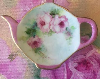 Hand painted porcelain shabby chic pink tea caddy pink roses