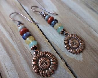 Sunflower Earrings Sunflower Jewelry Gemstone Earrings Copper Earrings Sunflower Item Copper Jewelry Cute Earrings Made in USA