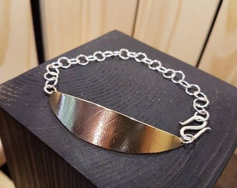 Brass Leaf Bracelet + Sterling Silver Chain. Made in Canada