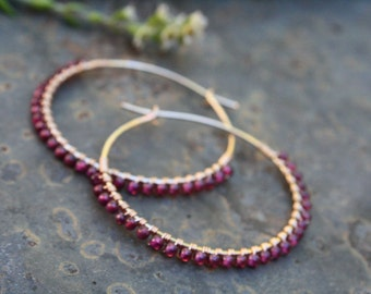 "Gold filled Hoops, Garnet Hoops, 1-1/2 "" Gold Hoops, Garnet Petal Earrings, Janruary birthstone, Wire Wrapped Earrings,Lightweight Earrings"