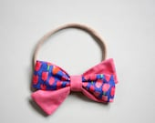 Piper bow in raspberry pink and tulip floral headband or clip
