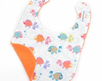 Baby Bib - White and Orange Goldfish Bib - Ready to Ship
