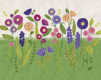 Bright, colourful fabric flowers picture. A4 print of original textile artwork 'Flowers'. Applique and free motion machine embroidery.