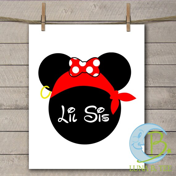 INSTANT DOWNLOAD Disney Family Vacation Cruise Pirate Night little Sis Sister Shirts Digital Printable DIY Iron On to Tee T-Shirt Transfer