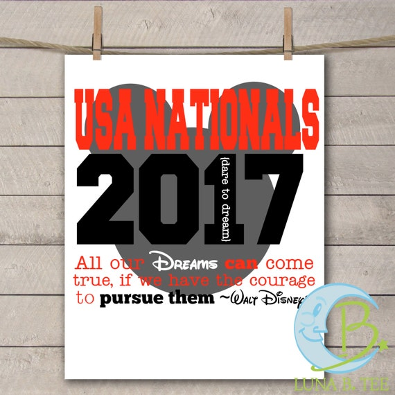 Instant DOWNLOAD Disney USA Nationals Cheerleading Cheer Dance Championship 2017 Shirts Printable DIY Iron On  Tee T-Shirt Transfer