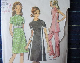 vintage 1970s simplicity sewing pattern 9206 misses dress in two lengths or tunic and pants size 14