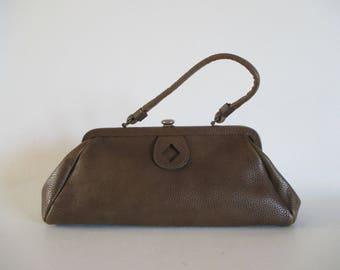 Vintage Brown Leather Kelly Bag 1960s Top Handle Bag Brown Pebbled Leather Handbag Vintage Brown Purse 60s Mad Men Mod Pocketbook by Letisse