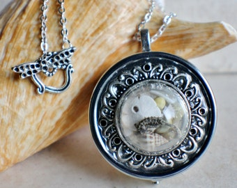 Nautical music box locket, round locket with music box inside, in silvertone with tiny sea life treasures encased in glass