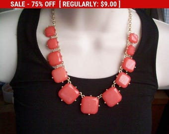 SALE Orange beaded bib necklace, statement necklace, estate jewelry