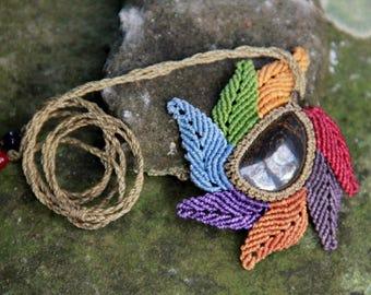Gypsy macrame tiger eye necklace