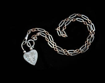 MoonsCuriousItems-SOLD-Reserved for S-Second Payment-  Victorian Heart Padlock  -Banded Agate Reverse Necklace- Lovely Antique Niello Chain