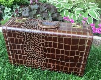 Vintage Embossed Leather Man's Luggage Brown  Cordovan Faux Crocodile Luggage