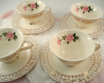 Vintage Wedding Teacups and Saucers TST China Taylor Smith Taylor Classic Pink Rose Floral 4 Vintage Bridal Shower Engagement Party