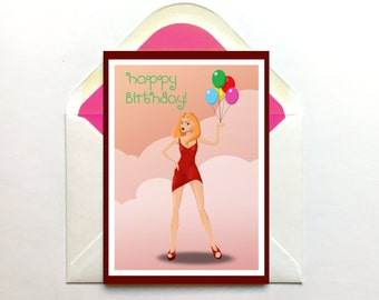 Birthday Card, Bday Card, Birthday Gift, Friend Birthday Card, Glamorous Card, Happy Birthday, Cute Card, For Her, Women, Party Girl,