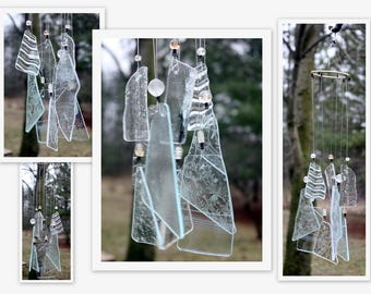 Wind Chime, Stained Glass Chime, Glass Windchime, Clear Textures. Garden Decor, Home Decor