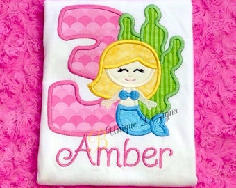 Appliqué Mermaid Shirt, Mermaid Birthday Shirt, Girl Birthday Shirt, Girl Applique Shirt, Tops, Princess Birthday, Under the Sea