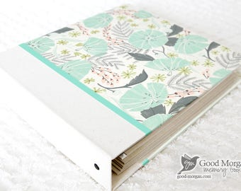 5 Year Baby Memory Book  - Minty Floral