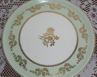"ON SALE Gorgeous Antique 1900s Vintage CH Field Haviland Limoges France 12 1/2"" Service Plate Charger Platter Green with Gold Leaves & Flowe"