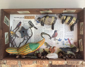 THE BIRDS and the BEES ~ Recycled Stuff 3D Art Shadow Box Diorama Mixed Media  Assemblage