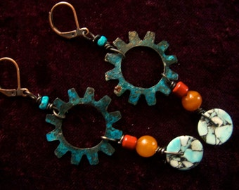 Rustic earrings, Cog earrings with Picasso Jasper, Sealed blue patina, Glass beads, Turquoise, Boho, Southwest, OOAK, Free Shipping