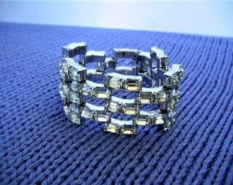 EISENBERG STERLING Silver BRACELET Vintage Collectible  Designer Clear Crystal Rhinestone Costume Jewelry Wedding Gift Bridal Bridesmaid
