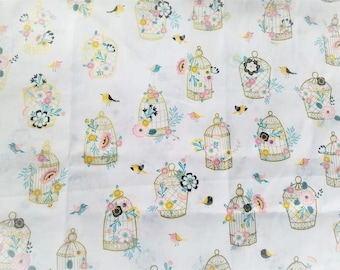 FABRIC-Birdcage Fabric by the Yard-Floral Fabric-Metallic Gold Fabric-Apparel Fabric-Home Decor Fabric-Fat Quarters-Craft Fabric