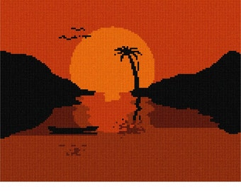 Needlepoint Kit or Canvas: Tropical Vacation Silhouette