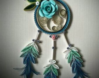 Paper Quillied beautiful Dream Catcher . Paper Quilling Art.Mothers day. Birthday,Congratulations ,Wall Art, Happy Anniversary Card