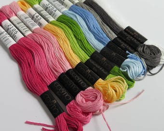 Cosmo Embroidery Floss Set | Brenda Riddle Embroidery Floss Collection Lecien Cosmo Embroidery Thread - 12 skein floss kit